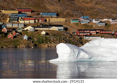 The iceberg floating near the city of Amassalik, Greenland