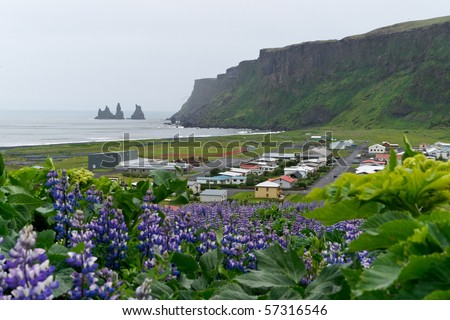 The icelandic town Vik i Myrdal in the South of the island
