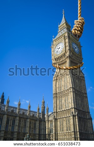 Shutterstock The iconic Big Ben clocktower choked by huge noose hanging above Westminster Palace and the Houses of Parliament with the Brexit decision to leave the European Union and possibility of hung parliament