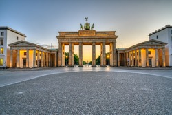 The iconic Brandenburg Gate in Berlin after sunset