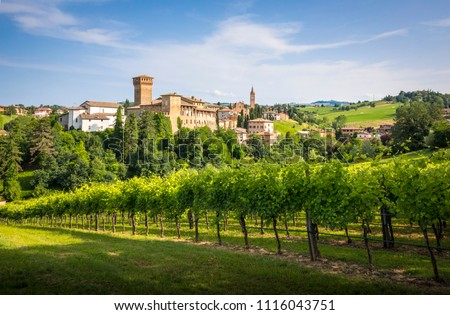 The iconic Levizzano Rangone village, with wineyards on the foreground, into the hills between Modena and Bologna. Modena district, Emilia Romagna, Italy #1116043751