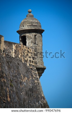 The iconic lookout tower at Fort San Cristobal often used as a symbol of San Juan