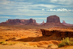 The iconic movie location in morning light, John Ford Point, Monument Valley, Arizona.