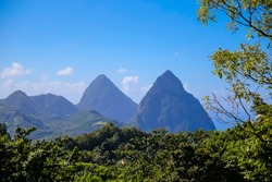 The iconic Piton mountaintops in Saint Lucia
