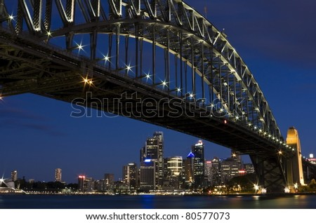 The Iconic Sydney Harbour Bridge against the Blue Evening Sky