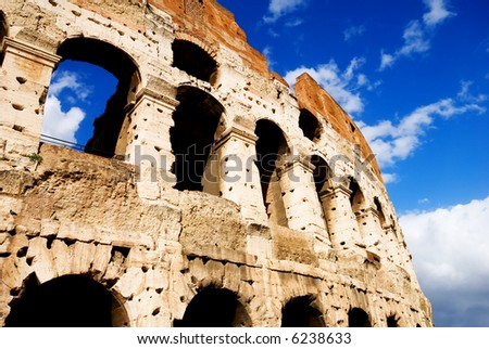 The Iconic, the legendary Coliseum of Rome, Italy - from an interesting angle/viewpoint