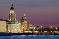 The iconic view of St. Petersburg White Night - Curiosities, Vasilievsky Island with Rostral columns, Peter and Paul Fortress and mosque in one shot. Russia