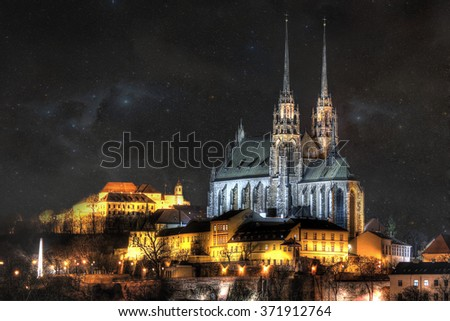 The icons of the Brno city's ancient churches, castles and obelisk