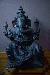 the idol of Lord Ganesh in stone in a museum in Bhubaneswar, India