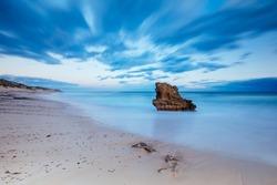 The idyllic Number Sixteen Beach at sunset in Rye, Victoria, Australia