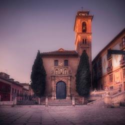 The Iglesia de Santa Ana, in Granada. Plaza Nueva Square near at the start of one of the most beuatiful streets in the world, Carrera del Darro and the Albaicín