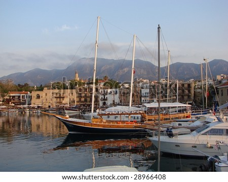 The illegal Kyrenia harbor in North Cyprus under the Turkish Occupation - stock photo