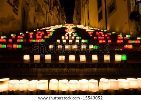 the illuminate staircase of Caltagirone - stock photo