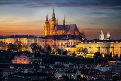 The illuminated, famous Castle of Prague, Czech Republic, situated over the old town just after sunset time