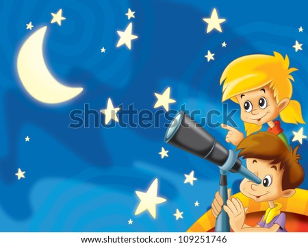 The illustration of kids having fun watching the stars - astronomy with kids - drawing for the children 1