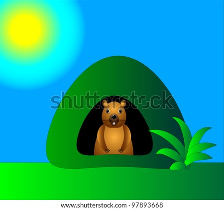 The  illustration of the brown marmot in it's hole in the green field under the sun.