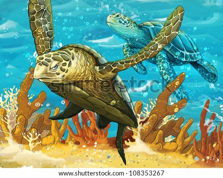 The diving pair big sea turtles drawing for children stock photo