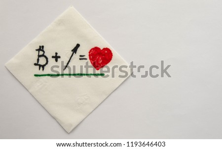 The illustration on a napkin: When Bitcoin grows, love for it grows too. #1193646403