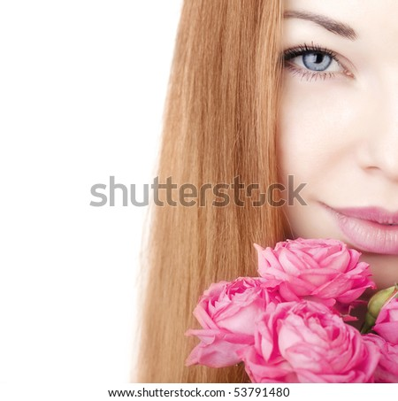 The image of a beautiful girl on a white background with roses