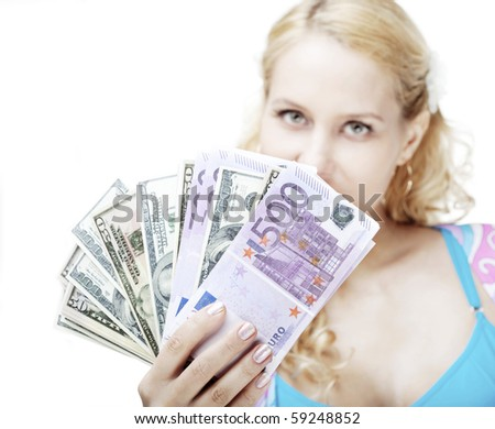 The image of a beautiful girl with money