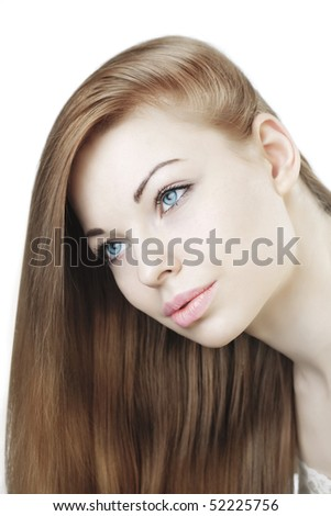 The image of a beautiful young girl with long hair