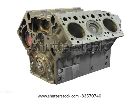 The image of a cylinder block under the white background