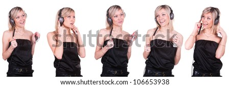 The image of a girl listening the music in different positions