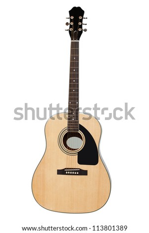 The image of a guitar under a white background