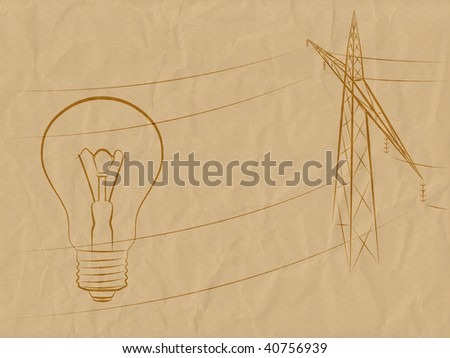 The image of a lamp and support of an electricity transmission on the crumpled old paper.