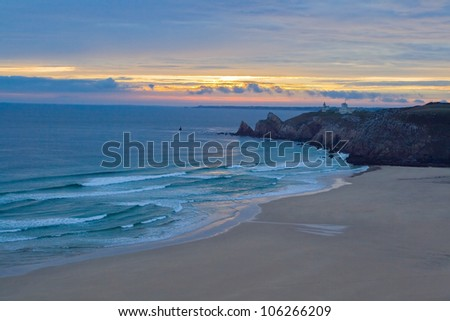 The image of a wild beach at sunset against the coast of Cameret sur Mer, Bretagne, France.
