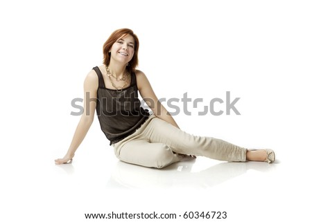 The image of a young woman on a white background