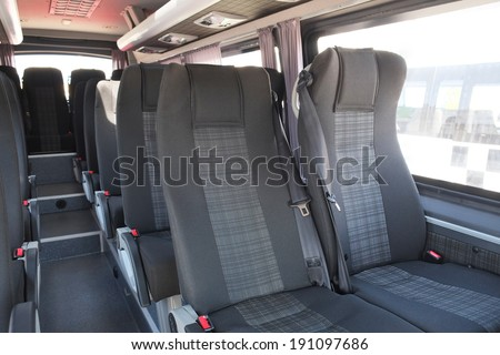 the image of an Interior of modern city bus - Shutterstock ID 191097686