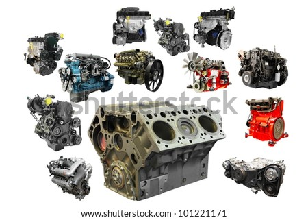 The image of car engines under the white background