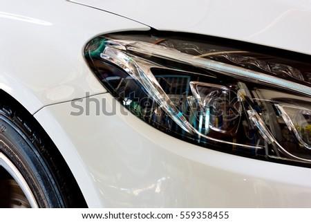 The image of car headlights