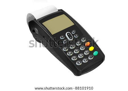The image of cash register under the white background