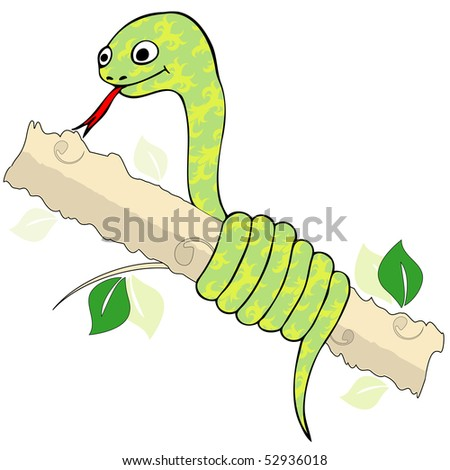 The image of cheerful animated green snake