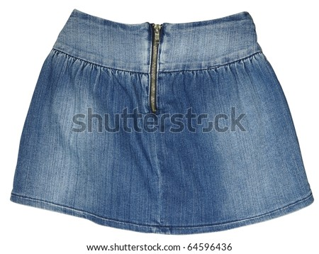The image of child's jeans skirt under the white background