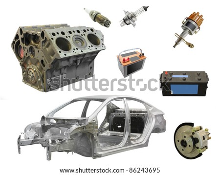 The image of different car spare parts