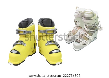 The image of downhill boots under the light background
