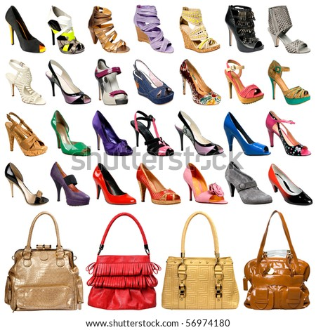 The image of female footwear and bags isolated against