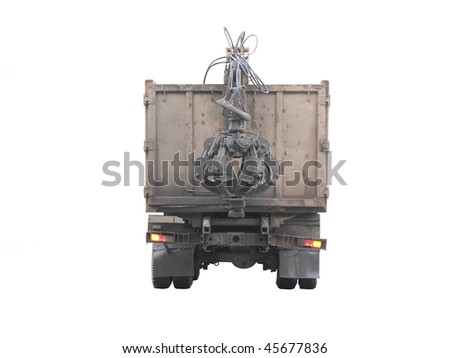 The image of garbage truck under the white background.