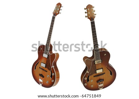 The image of guitars under the white background - stock photo
