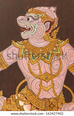 The image of Hanuman (Ramayana literature) on wall at Wat Phra Kaew in Bangkok ,Thailand