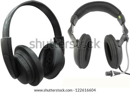 The image of headphones under the white background