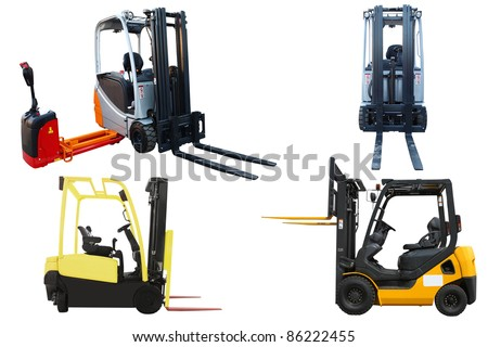 The image of loaders under the white background