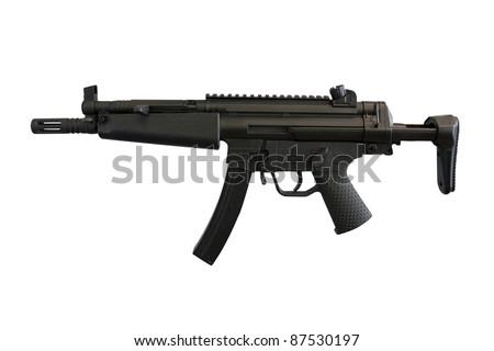 The image of machine gun under the white background