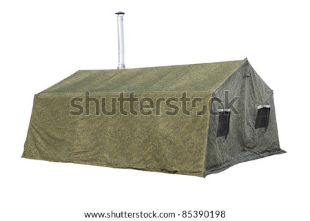The image of military tent under the white background