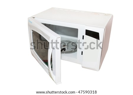 The image of open microwave under the white background. Focus is under the front part of the wave