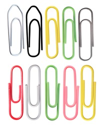 The image of paper clips under the white background