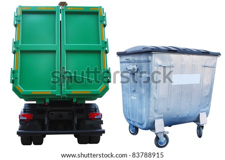 The image of refuse bin and the truck under the white background